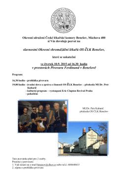 slavnostní Okresní shromáždění lékařů OS čLK Benešov, v