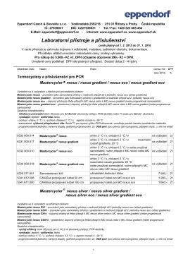 Ceník 2015: Laboratorní přístroje a příslušenství 0.5 MB