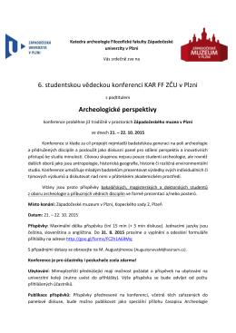 6. studentskou vědeckou konferenci KAR FF ZČU v Plzni