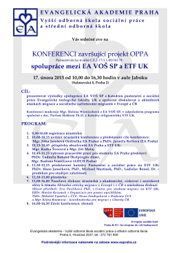 KONFERENCI završující projekt OPPA spolupráce mezi EA VOŠ SP