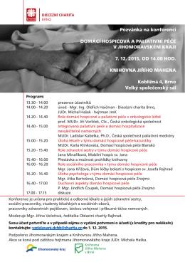 Pozvánka na konferenci - Diecézní charita Brno