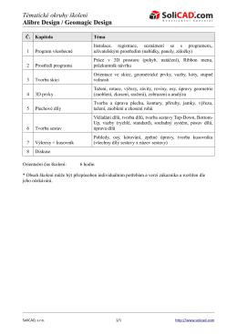 Tématické okruhy školení Alibre Design / Geomagic