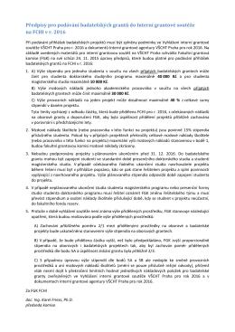 Předpisy pro podávání badatelských grantů do Interní