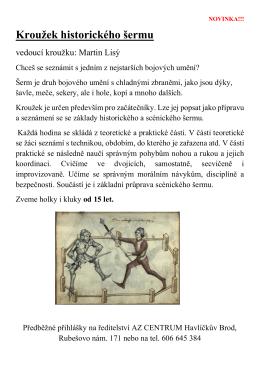 Kroužek historického šermu - AZ CENTRUM Havlíčkův Brod