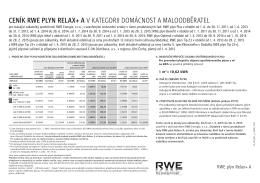 cenÍK RWe plyn RelAX+ A v kategorii Domácnost a malooDběratel