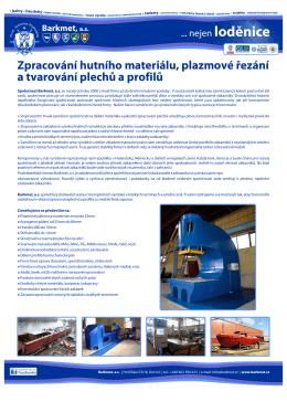 Zpracování hutního materiálu, plazmové a tvarování