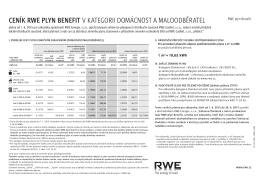 ceník rwe plyn benefit v kategorii domácnost a maloodběratel