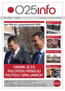 Igor Mirović, SNS: VREME JE ZA POLITIČKU PENZIJU PAJTIĆA I