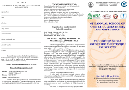 6th annual school of obstetric anesthesia and obstetrics vi godišnja
