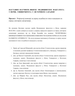 Izvještaj komisije o ocjeni podobnosti teme i kandidata za izradu