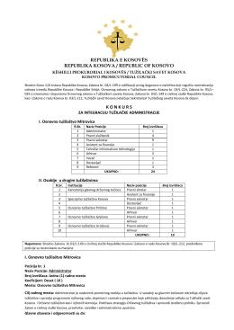 konkurs za integraciju tužilačke administracije
