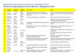 """Spisak prihvaćenih radova za konferenciju """"Menadžment"""