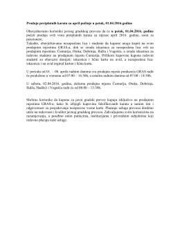 Prodaja pretplatnih karata za april pocinje u petak, 01.04
