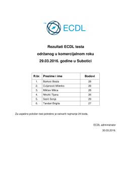 Rezultati ECDL testa održanog u komercijalnom roku 29.03.2016