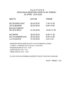 raspored izdavanja mesečnih karata na terenu za april 2016. godine