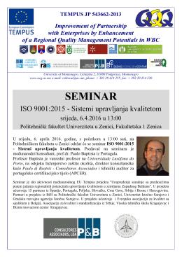 Pozivnica za seminar. - Univerzitet u Zenici