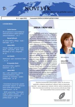 """Tromesečnik """"NOVI VEK"""", broj 1, avgust 2012."""