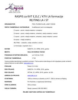 RASPIS za KVT E,D,C / KTV LA formacije REJTING LA i ST