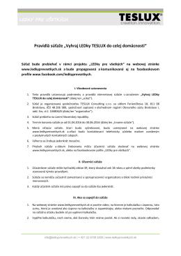 Pravidlá súťaže - ledkyprevsetkych.sk