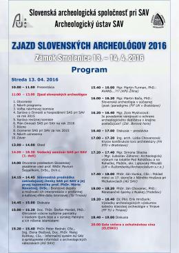 PROGRAM Smolenice 2016 - Slovenská archeologická spoločnosť