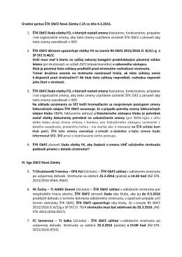 Úradná správa ŠTK ObFZ Nové Zámky č.25 zo dňa 4.3.2016 vo