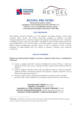 reydel pre nitru - Nitrianska komunitná nadácia