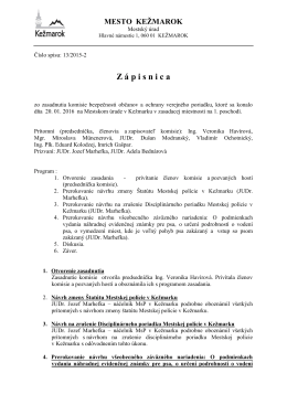 Zápisnica Ko-BEZ-20012016