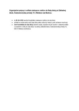Organizačné pokyny k voľbám zástupcov rodičov do Rady školy pri