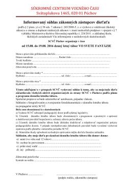 Informovaný súhlas zákonných zástupcov