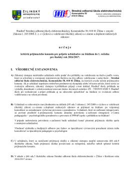 kritériá prijímacieho konania pre prijatie uchádzačov na štúdium do