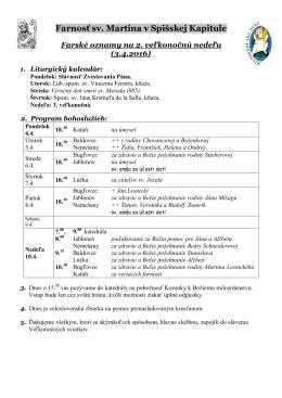Farské oznamy - Farnosť Spišská Kapitula