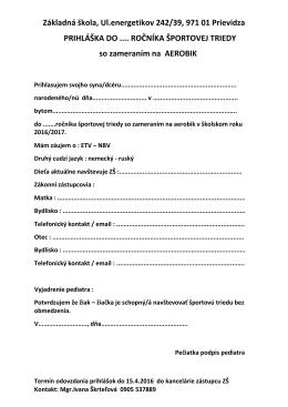 Prihláška do športovej triedy so zameraním na AEROBIK