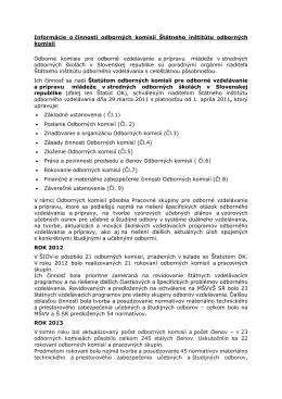 Informácie o činnosti odborných komisií Štátneho inštitútu