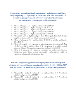 Usmernenie k zaraďovaniu elektroodpadov ku katalógovým číslam v