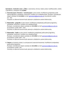 Gymnázium, Varšavská cesta 1, Žilina s osemročnou formou štúdia