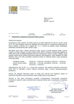 List Slovenskej pošty na stiahnutie
