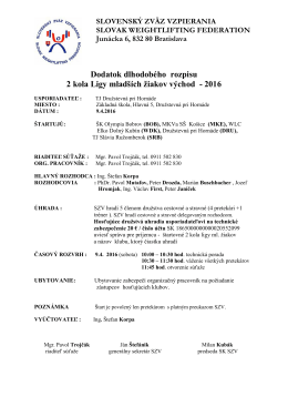 Dodatok rozpisu 2. kola Ligy ml. žiakov východ 2016