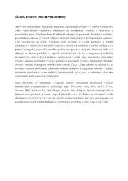 Študijný program: Inteligentné systémy