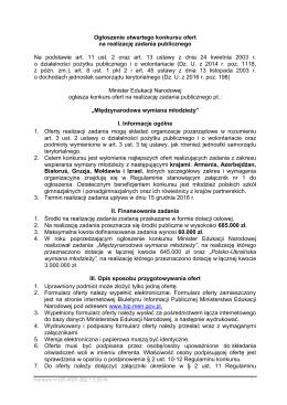 Ogłoszenie konkursu, Regulamin konkursu oraz Zasady