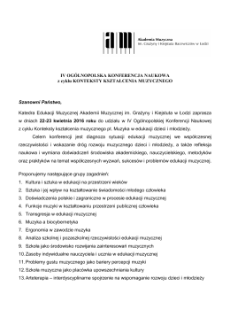 KOMUNIKAT  - Akademia Muzyczna w Łodzi