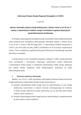 Informacja nr 21/2016 - Urząd Regulacji Energetyki