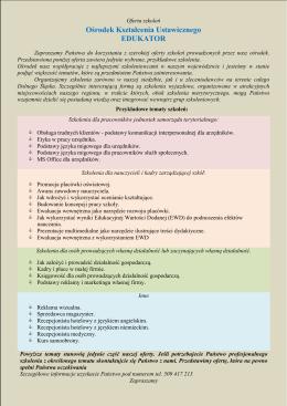 Oferta kursów - Centrum Kształcenia EDUKATOR