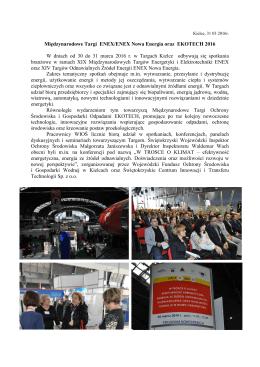 Międzynarodowe Targi ENEX Nowa Energia oraz EKOTECH 2016