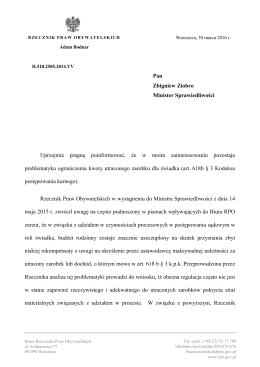 Wystąpienie do Ministra Sprawiedliwości ws. zwrotu kosztów