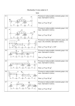 Mechanika I Lista zadań nr 4