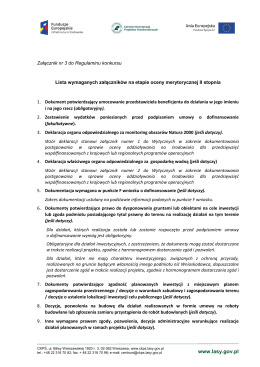 Lista i zakres wymaganych załączników do wniosku o