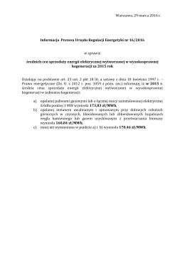 Informacja Prezesa Urzędu Regulacji Energetyki nr 16/2016 w