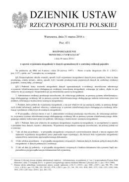 Rozporządzenie Ministra Cyfryzacji z dnia 30 marca 2016 r