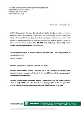 Ogłoszenie o zmianie Statutu