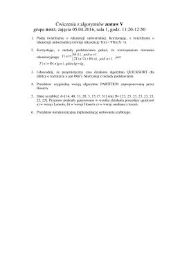Ćwiczenia z algorytmów zestaw V grupa R1IS3, zajęcia 05.04.2016